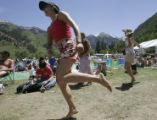 Erika Vohman (cq), of Crested Butte, dances at the 32nd Annual Telluride Bluegrass Festival in...