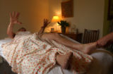 (BOULDER, Colo., May 5, 2005) While getting a sports massage for masseuse Holly Beggs, (rt- not...