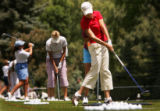 LPGA pro Cristie Kerr hits balls at the practice range at the 2005 U.S. Women's Open at Cherry...