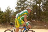 (BOULDER, Colo., May 5, 2005) Tyler Hamilton rides along a dirt road that leads to his house in...