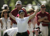 Paula Creamer stretches before teeing off on the 1st tee on the second day of practice for the...