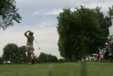 Annika Sorenstam tees off on the fifth hole during a practice round at the 2005 U.S. Women's Open...