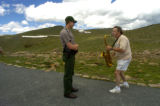 Rocky Mountain National Park Ranger Ryan Schuster (cq) listens to Dennis L. Gerald (cq -Denver)...