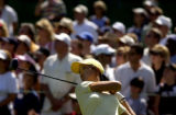 Michelle Wie tees off on the 18th hole on the second day of the U.S. Women's  Open at Cherry Hills...
