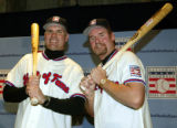 NY157 - ** FILE ** Ryne Sandberg, left, and Wade Boggs pose for photographs after a news...