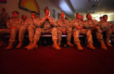 (COLORADO SPRINGS, CO. JUNE 4, 2004) Soldiers of the 1-8 Infantry Regiment, watch comrads and...