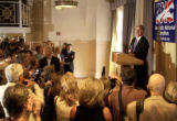 Democratic National committee chairman, Howard Dean, speaks to a crowd of democratic party...