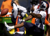Denver Bronco wide reciever Darius Watts, left gets a reception broken up by corner back, Karl...