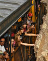 Visitors on the Durango & Silverton Narrow Gauge Railroad reach out for rocks on a slow turn...
