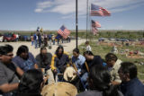 Fort Washakie Reservation Singers, sing during the Memorial Day observance at the Sacagawea...