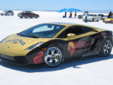 The Lamborghini car that is sponsored by GOLDENPALACE.COM and driven by NBA star Dennis Rodman....