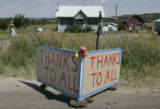 A sign at the home of Dana Andrak and Brent Cameron on HWY 78 leading into Beulah thanks everyone...