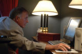 Washington, DC July 19, 2005_ U.S. Rep. Thomas Tancredo, R-Colo. works on his written response to...