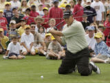 Castle Pines, Colorado  August 4, 2003.     At a Youth Demonstration Clinic, golfer Tom Lehman has...