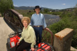 (Silverthorne, CO, Shot on 061004)Jeanette and Scotty Moser stand near the Blue River that runs...
