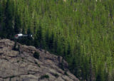 Search helicopters fly near the summit of Bighorn Mountain, elevation 11,463 ft., in Rocky...