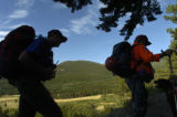Chris Koch (cq) and Dan Fanning (cq) , left to right, head out on tthe Lawn Lake trail head at...