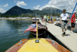 Frisco, CO July 19, 2005 Spectators admire  wooden boats moored at the Frisco Marina. The Rocky...