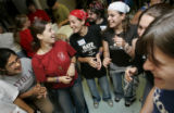 From left- Noureen Kapadia (cq), 19, of Chicago, Il., Or (cq), 18, an Israeli, Zena (cq), 17, a...