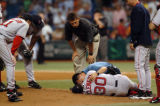 7-26-05 St. Petersburg, Fl - RAYSGAME 27 JB 4 - Boston pitcher Matt Clement is tended to after his...