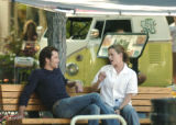 Boulder, CO July 28, 2005  Tim Olyphant and Jennifer Gardner chat between scenes as crew sets up...