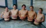 LOUISVILLE, COLO., APRIL 30, 2004)  Monarch High School swimmers Kyle Gordon, Matt Lundy, Tom...
