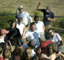 Granby, CO July 29, 2005 John Solis (center, white t shirt), along with other cabin counselors at...