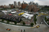 Denver is the backdrop behind turns 5,6 and7 during the Champ Car race at the CENTRIX Financial...