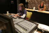 (L-R) Brooklynn Saelens (cq) and Valerie Westerfield (cq) work in the Post Production Audio room...