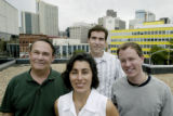 Denver, CO Aug. 1, 2005 Scripps winners Michael Hall, left, Sonya Doctorian, Brian James and Tim...