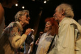 Jane Sharkoff, cq, 83, left, Fort Collins, greets artists Christo, right, and his wife and...