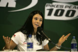 Danika Patrick gives a press conference as she prepares for this weeks Indy Racing League ...