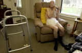(BRUSH, Colo., April 23, 2004) Harold relaxes with an electric shave in his favorite chair in his...