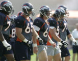 Denver Broncos' center, 66, Tom Nalen, third from left, is last of the starting offensive line...