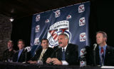 From left, Colorado Avalanche defenseman Rob Blake, center Joe Sakic, General Manager Pierre...