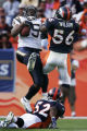 JPM0801-- Denver Broncos Al Wilson, #56, defends San Diego Chargers Antonio Gates, #85, on a...