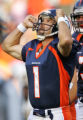 Denver Broncos Jason Elam looks into heaven after making a game winning 41 yard field goal to beat...