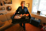 Cindy Jaufre, cq, 42, of Louisiana holds the only possessions she thought she would need in a...