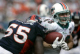 Punt returner Wes Welker, of the Dolphins is tackled by D.J. Williams, of the Broncos, in the...