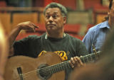 "Tony Garcia (cq) directs cast members during a rehearsal for the play, ""El Sol Que Tu..."