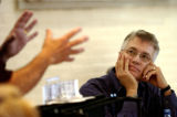 Artistic Director Kent Thompson, right, listens to Scott Weldin, Scenic Designer, talk about about...