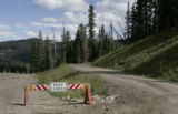 The road on the right ids Forest service road 391, a primitive road and only access to the...