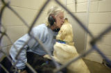 Linda Hawkins (cq) , a kennel technician at the Denver Dumb Friends League, plays with a pure bred...