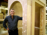 "Artistic Director Kent Thompson with a piece of the set form his new play ""A Flea in Her..."