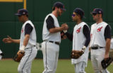 05sTribeC, July 4, 2005,  (second from left)Indian's starting pitcher Scott Elarton is...