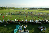 Practice for the Blue Knights Drum & Bugle Corps in Denver, Colo., on Thursday, July 1, 2004. ...
