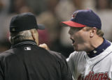 Cleveland Indians manager Eric Wedge gives homeplate umpire Larry Vanover(#27).Wedge got tossed in...