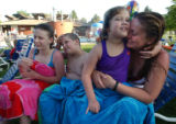 (DENVER, CO., JULY 6, 2004)  (LT. TO RT.)  Tatiana Ives, 13, bother Samson Ives, 10, talk about...