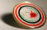 "(Denver, Colo., July 6, 2004) Photo of Iraq button. The button says ""Iraq Love,"" and..."