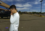 Ben Ildae Lim stops in the parking lot of the Velvet Room, 2705 S. Parker Rd., Sunday morning...